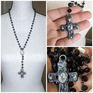 Jewelry - Pewter Cross with Crystals Black Chain Link Rosary